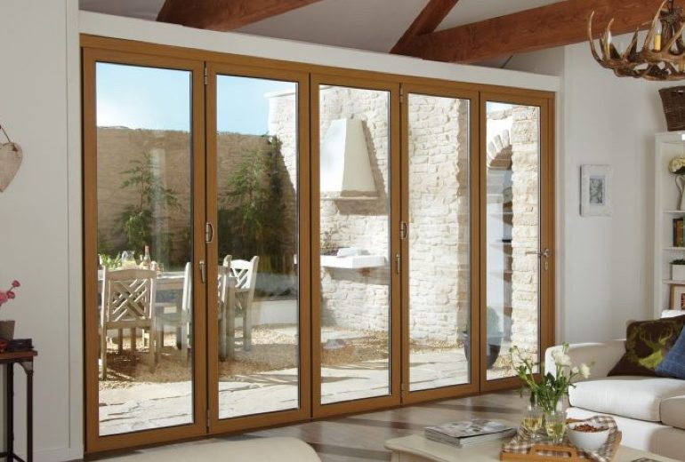 Natural wood effect Aluminium Bi-fold Door